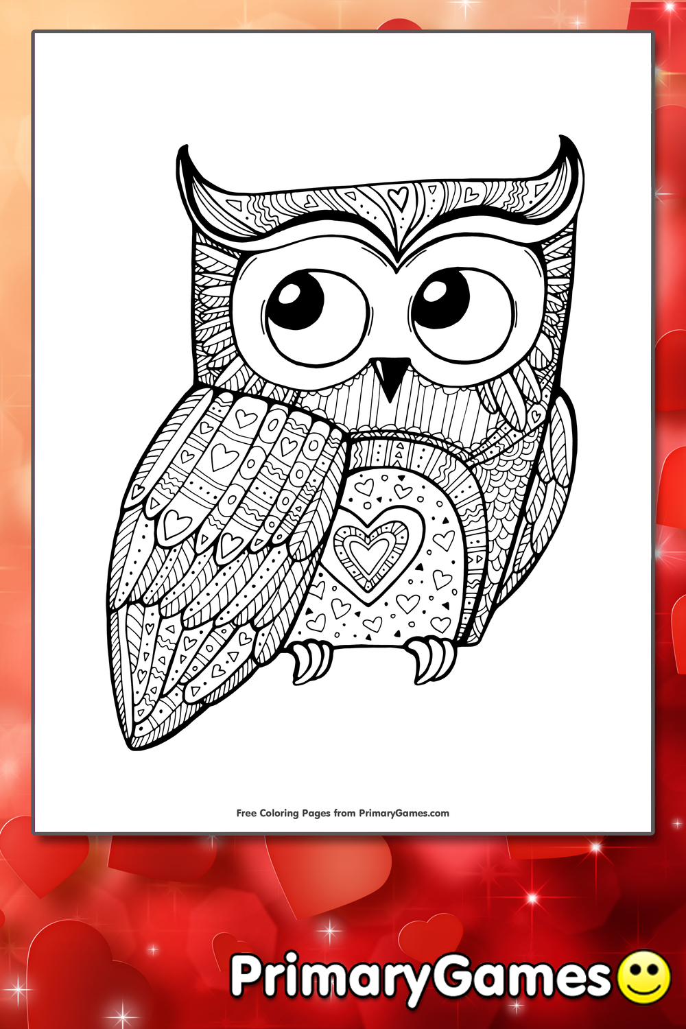Owl Coloring Pages Pdf : Valentine owl pages for adults coloring