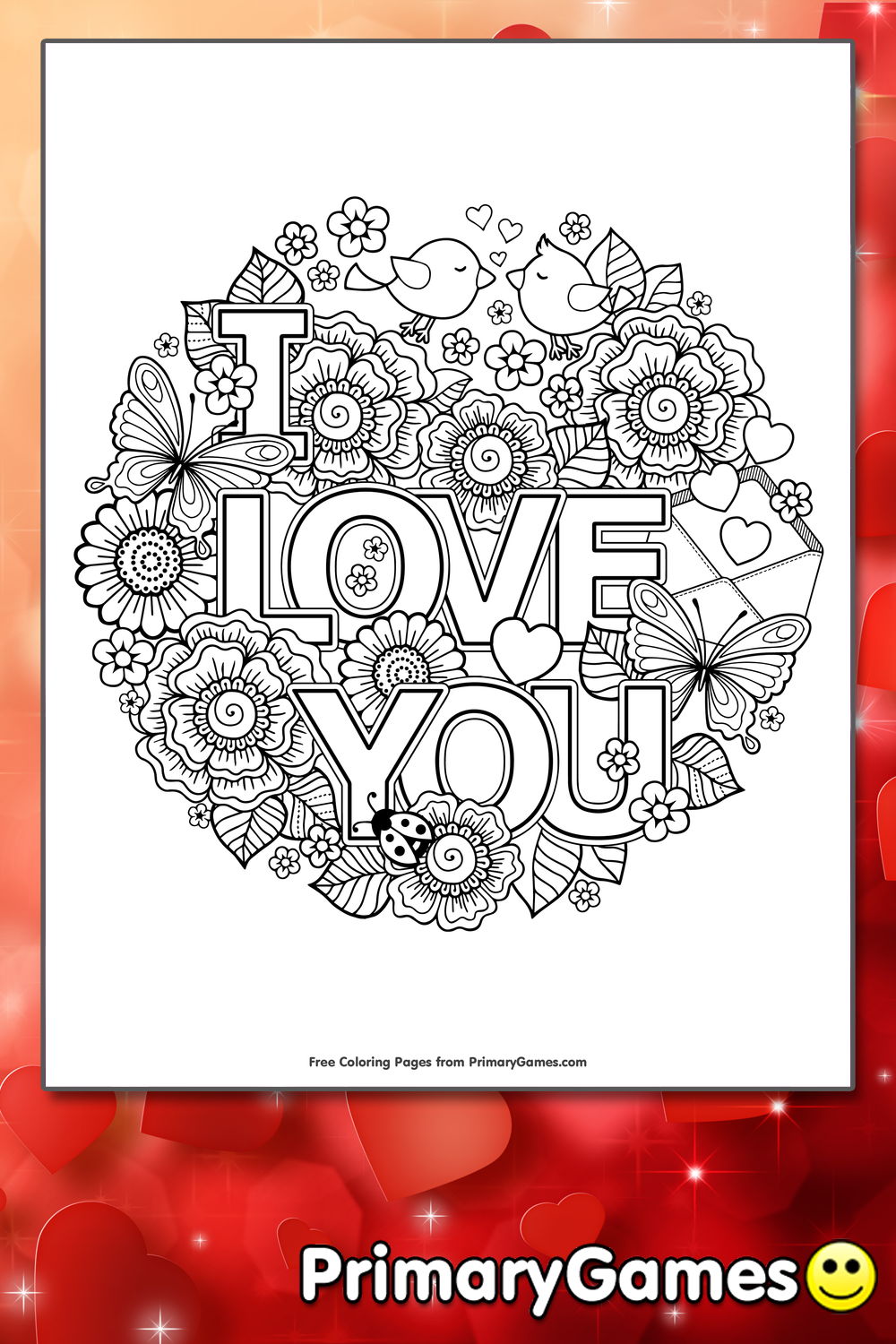 I Love You Coloring Pages Pdf : I love you coloring page printable valentine s day