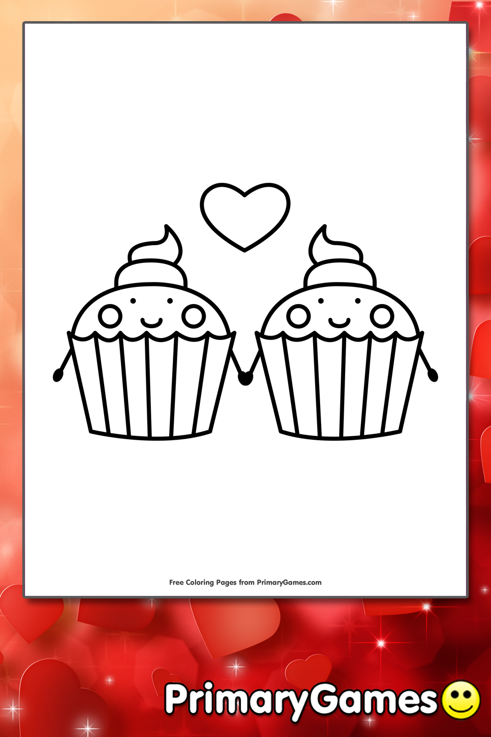 Cupcakes Holding Hands Coloring Page Printable Valentine S Day