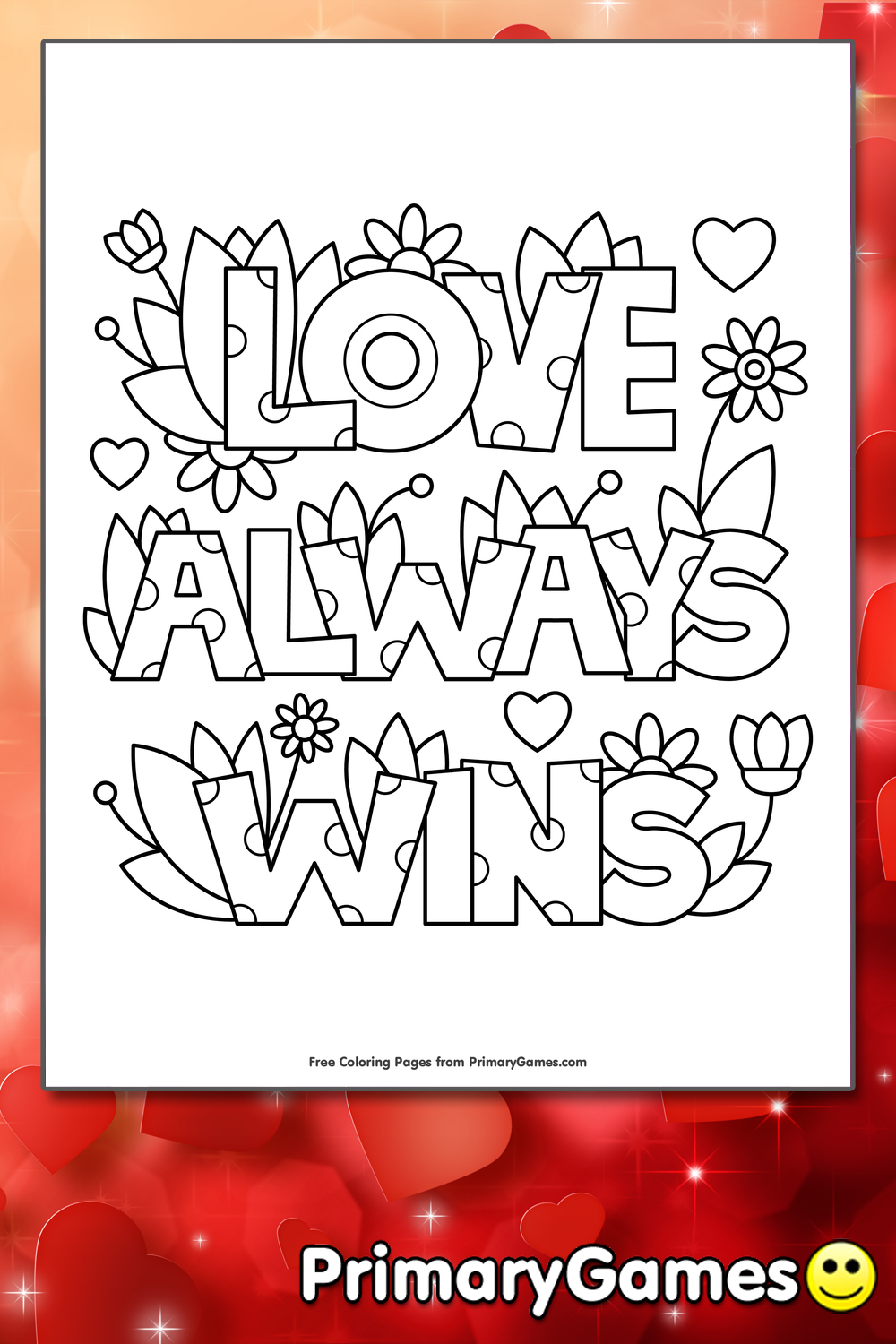 Love Always Wins Coloring Page Printable Valentine S Day
