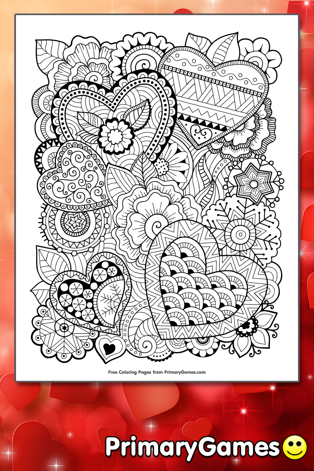 Zentangle Hearts Coloring Page Printable Valentine S Day