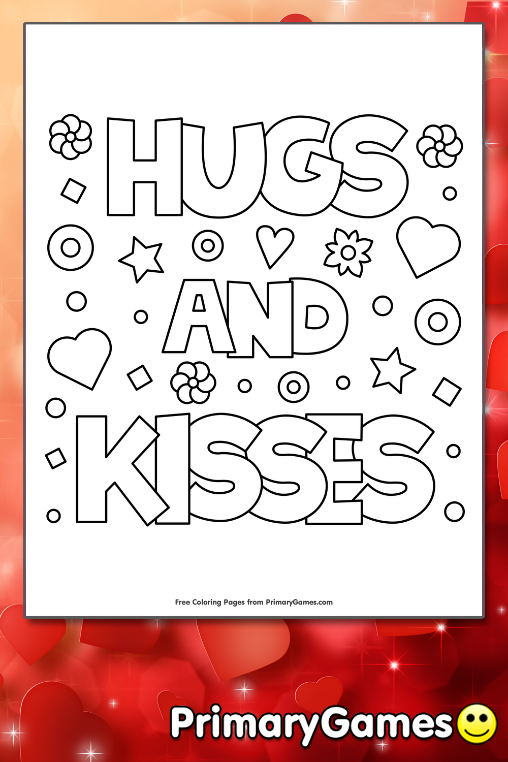 Hugs And Kisses Coloring Page Printable Valentine S Day