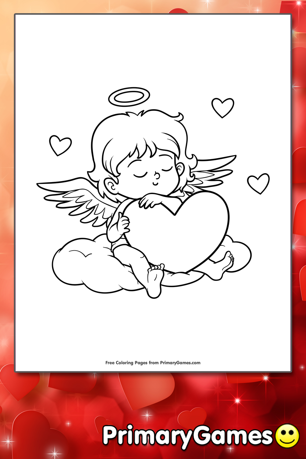 Sleeping Cupid Coloring Page • FREE Printable PDF from PrimaryGames