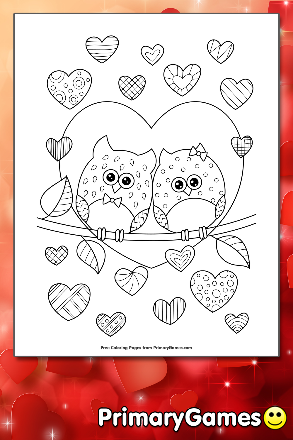 Owls in Love with Hearts Coloring Page • FREE Printable PDF from ...