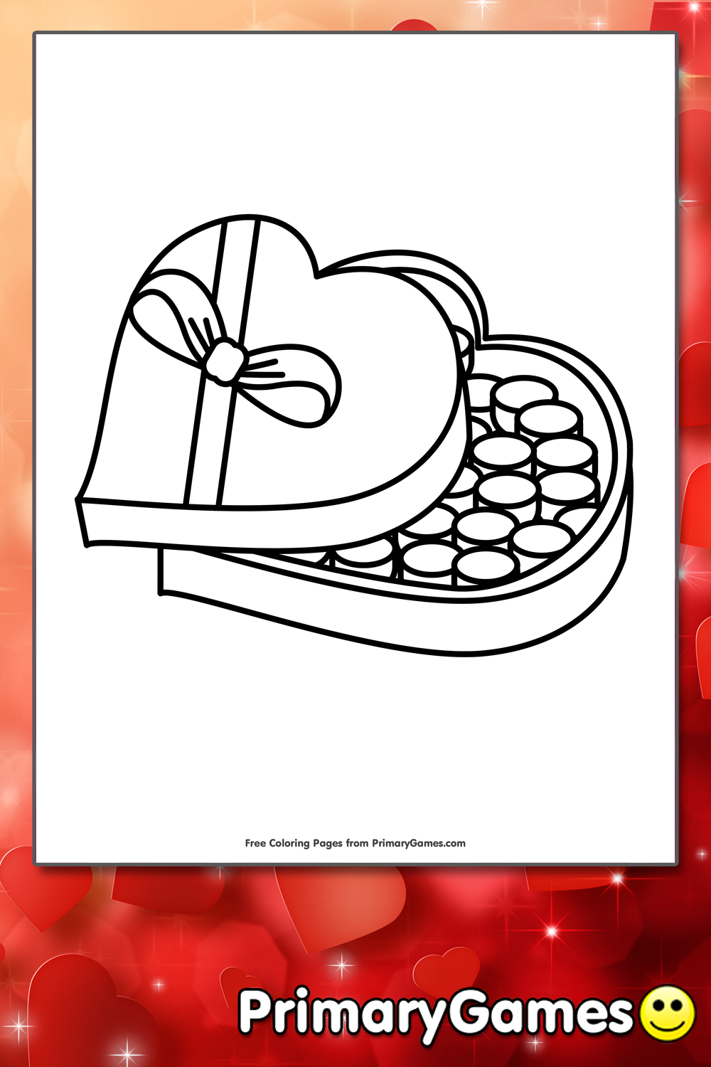box of chocolates in heart shaped box coloring page