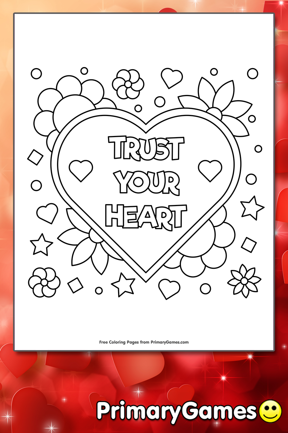 Trust Your Heart Coloring Page • FREE Printable PDF from PrimaryGames