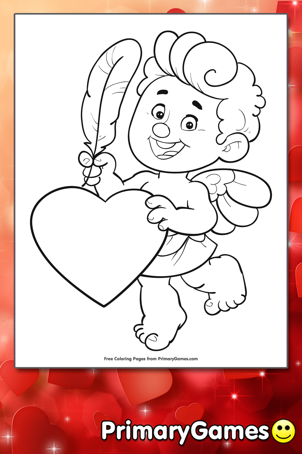 Cupid With Feather and Heart Coloring Page • FREE Printable PDF ...