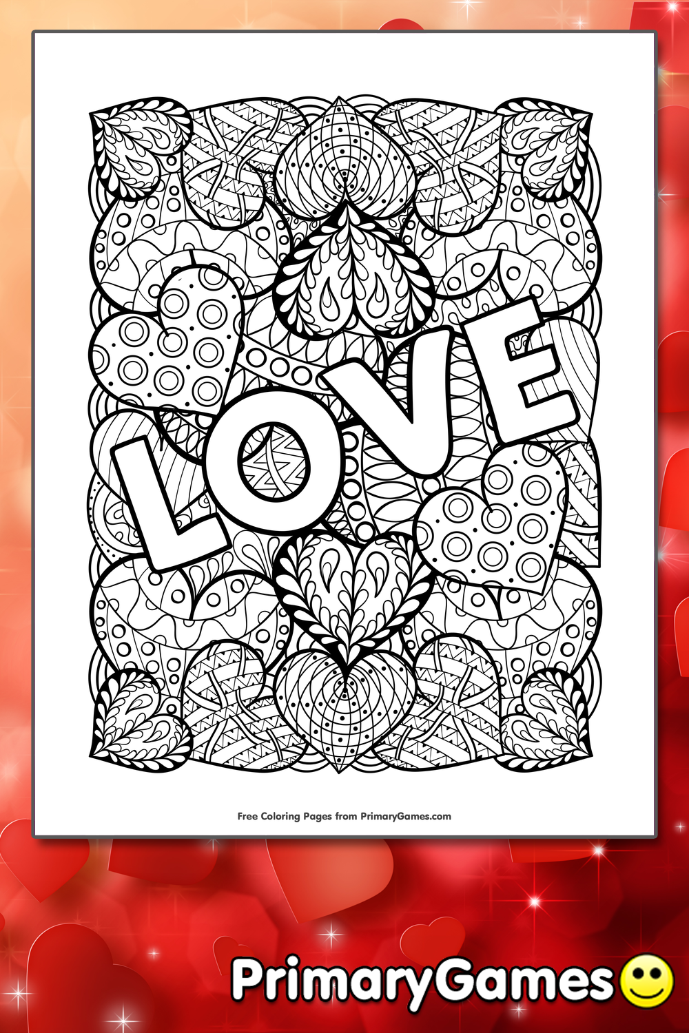 Love Coloring Page • FREE Printable PDF from PrimaryGames