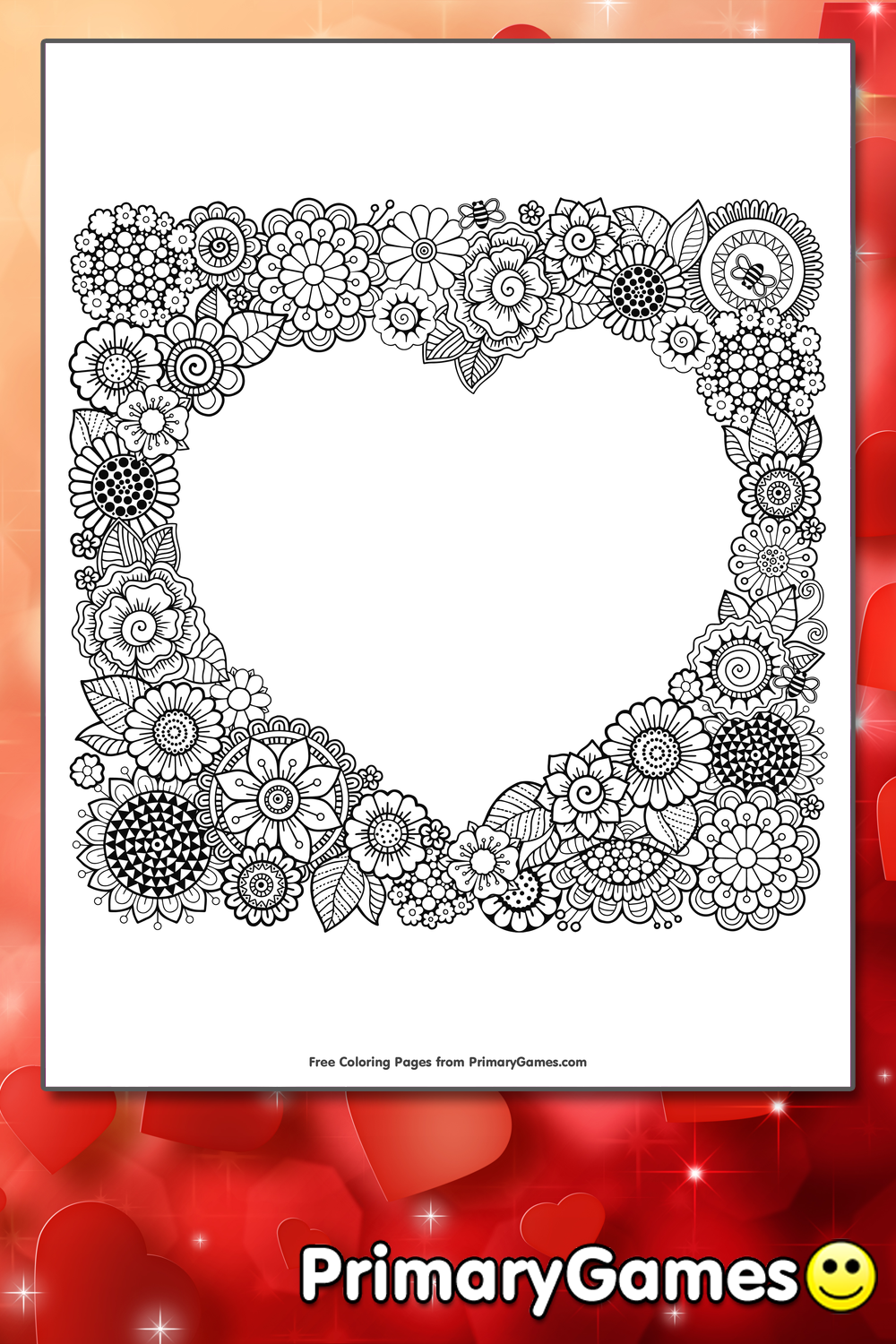 heart frame coloring page