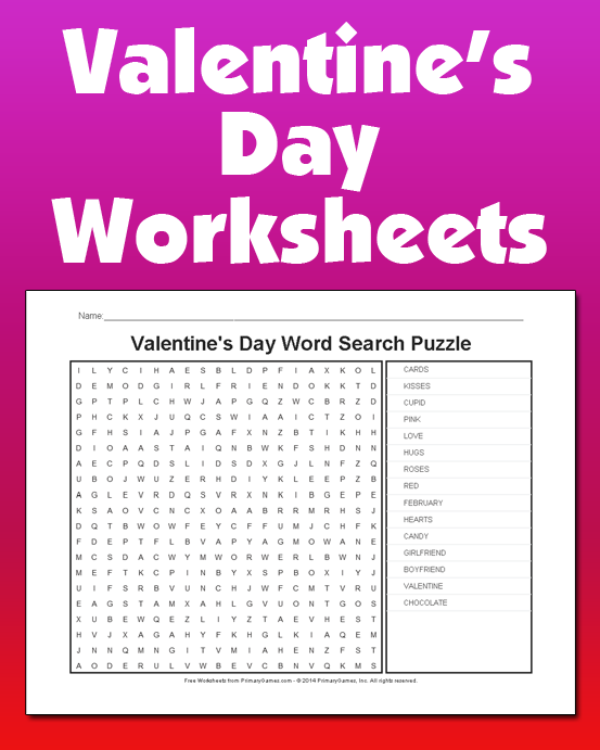 valentine's day worksheets - primarygames - play free online games, Ideas