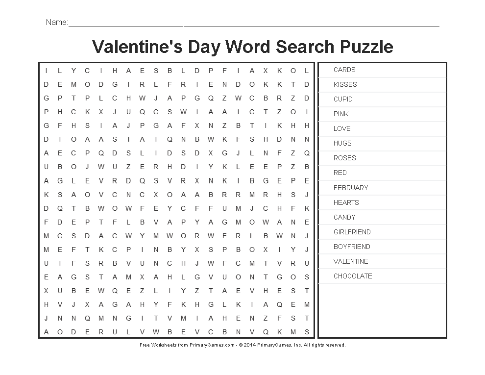Valentineu0027s Day Worksheets: Valentineu0027s Day Word Search   PrimaryGames    Play Free Online Games