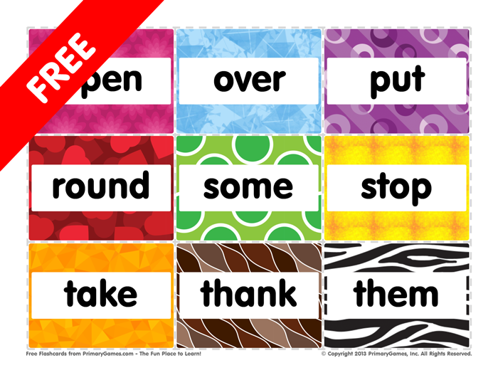 sight   Open pdf word Flashcards: Them Sight Words:  activities Grade First PrimaryGames to