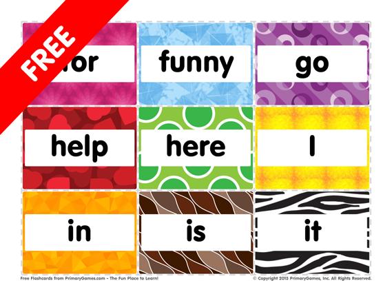 Flashcards PreK Sight Words