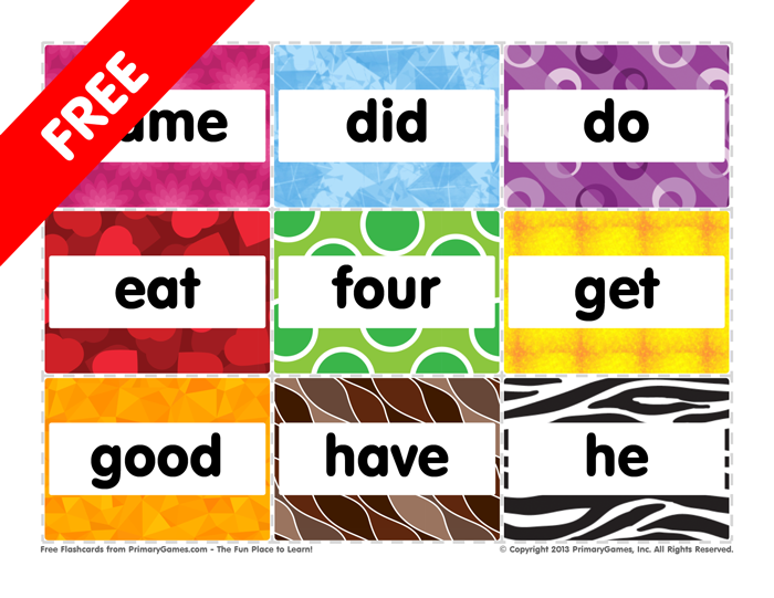 Flashcards: Kindergarten Sight Words: That to Well - PrimaryGames ...