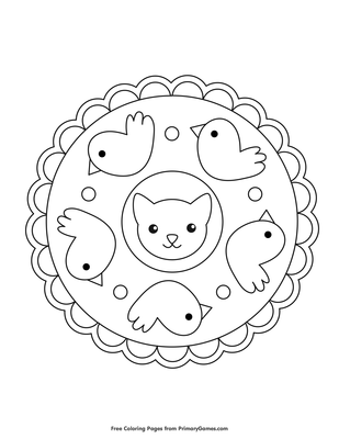 Cat And Bird Mandala Coloring Page Printable Mandalas