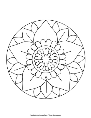 Simple Flower Mandala Coloring Page Free Printable Pdf From Primarygames