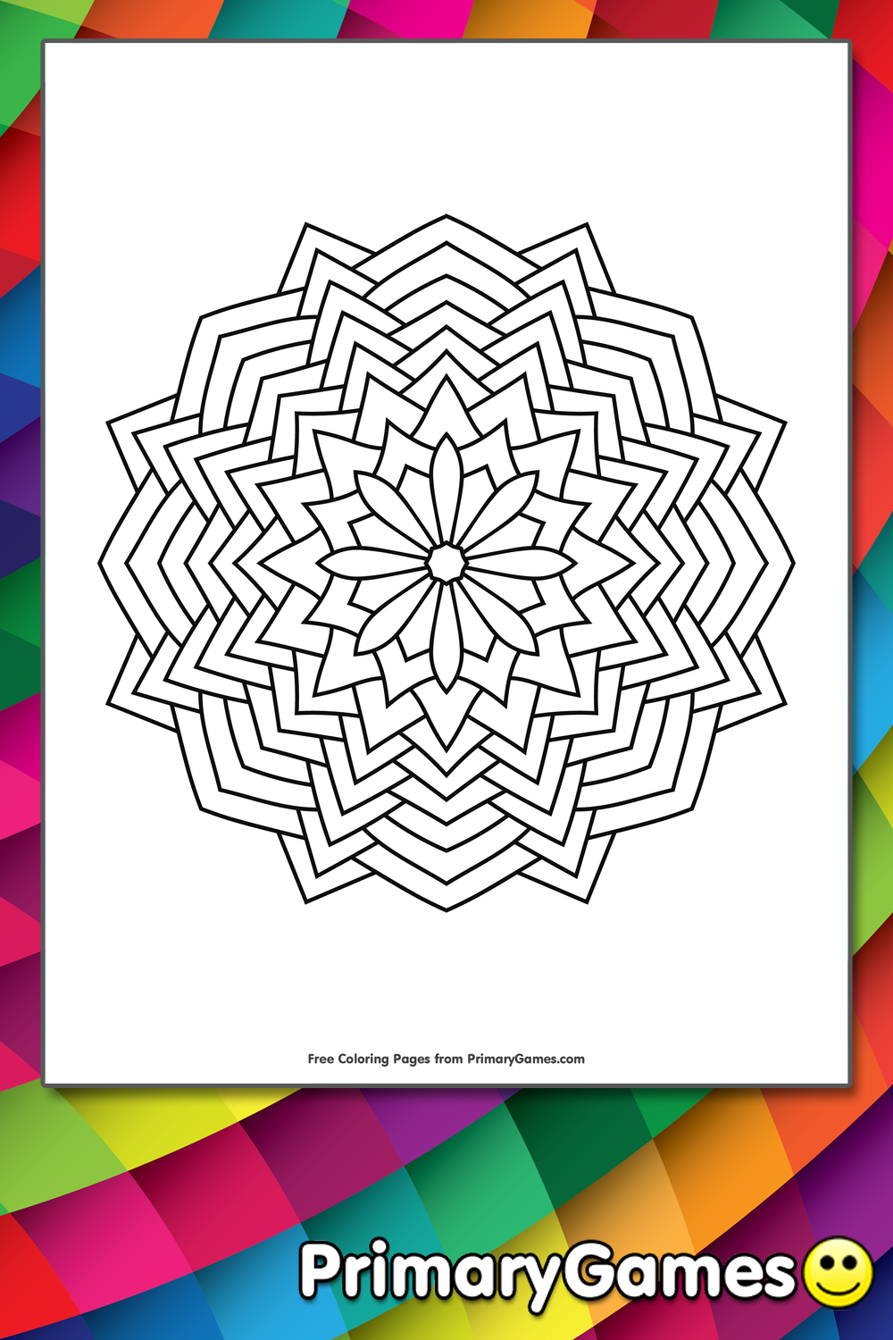 Geometric Mandala Coloring Page Free Printable Pdf From Primarygames