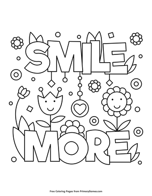 Smile More Coloring Page Coloring Page Free Printable Pdf