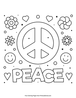 Peace Coloring Page Free Printable Coloring Books