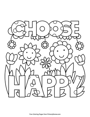 Choose Happy Coloring Page Coloring Page Free Printable