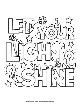 Let Your Light Shine Coloring Page Coloring Page Free