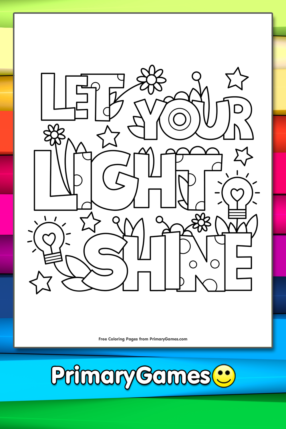 Let Your Light Shine Coloring Page Printable Positive Messages