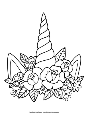 Unicorn Horn And Flowers Coloring Page Coloring Page Free