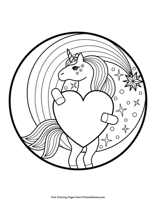 Unicorn Holding A Heart Coloring Page Coloring Page • FREE ...