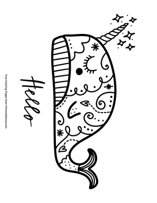Cute Narwhal Coloring Pages | Coloring Pages Library