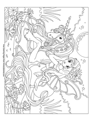 Unicorn With A Fairy Coloring Page • Free Printable Coloring ...