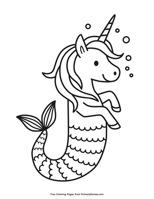 Unicorn Seahorse Coloring Page Free Printable Pdf From Primarygames