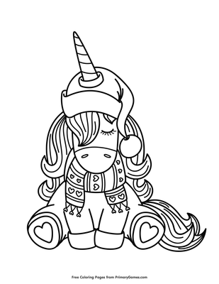 Winter Unicorn Coloring Page Free Printable Pdf From Primarygames
