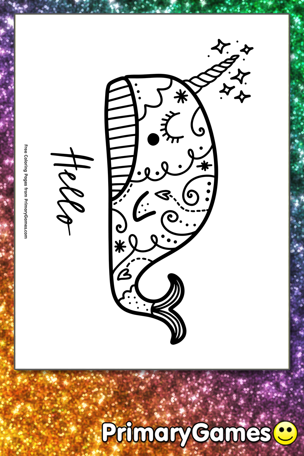 Narwhal Coloring Page Free Printable Pdf From Primarygames