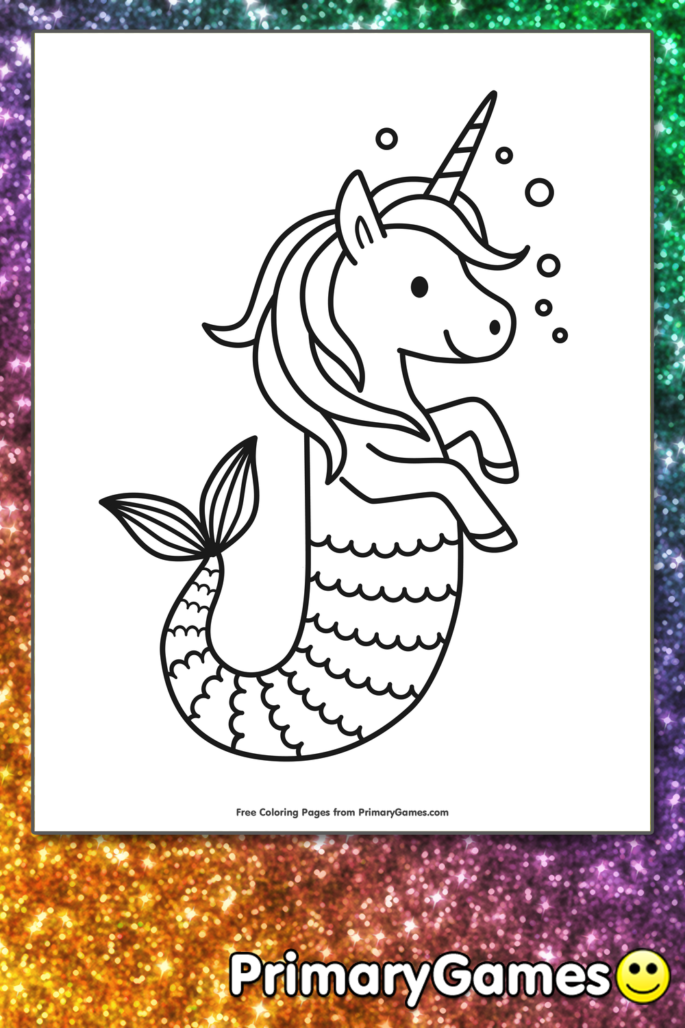 Unicorn Seahorse Coloring Page • FREE Printable PDF from PrimaryGames