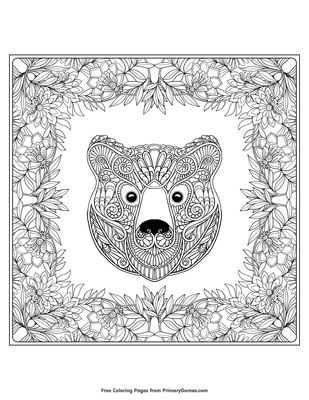 Bear With Fall Leaves Coloring Page Free Printable Pdf