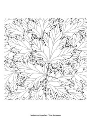 Zentangle Autumn Leaves Coloring Page Free Printable Pdf