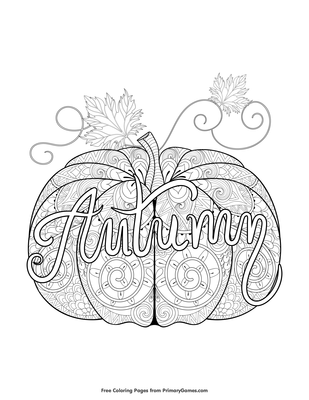 Autumn Pumpkin Zentangle Coloring Page Free Printable Pdf From Primarygames