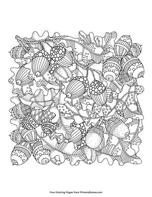 Acorns And Oak Leaves Coloring Page Free Printable Pdf