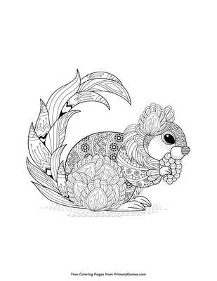 Zentangle Squirrel Coloring Page • FREE Printable PDF from ...