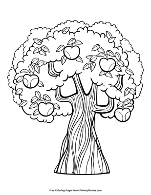 Apple Tree Coloring Page Printable Fall Coloring Ebook Primarygames
