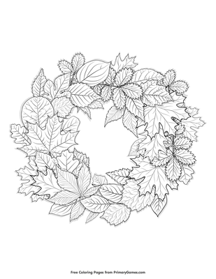 Leaves Wreath Coloring Page Free Printable Pdf From