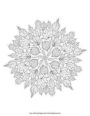 Leaves Mandala Coloring Page Free Printable Pdf From