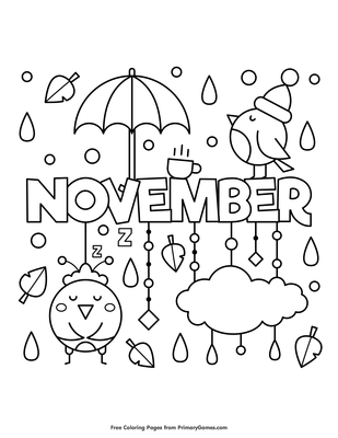 November Coloring Page  E  A Free Printable Pdf From Primarygames