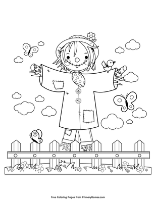 coloring: Scarecrow Coloring Pages To Print | 400x309