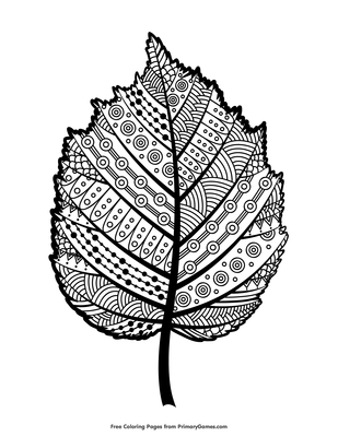 Zentangle Hazel Leaf Coloring Page Free Printable Pdf From