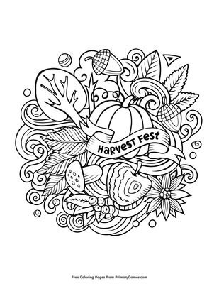 Harvest Coloring Pages | Coloring Pages Fall Harvest (Natural ... | 400x309
