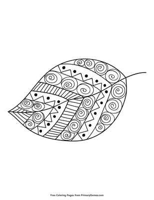 Tribal Style Leaf Coloring Page Free