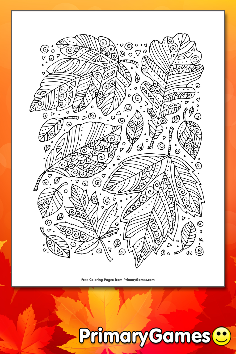 Zentangle Leaves Coloring Page