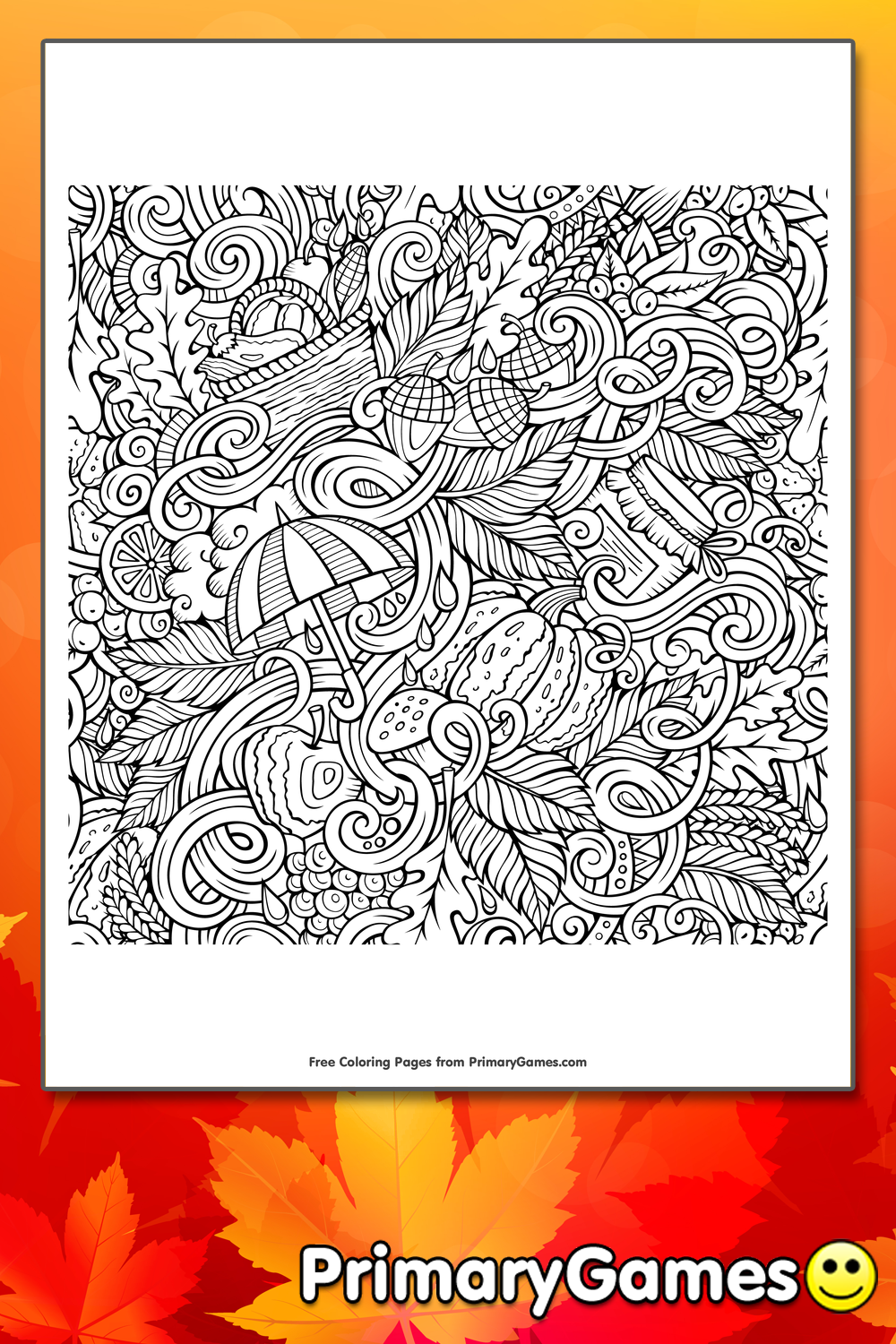 Fall Doodles Coloring Page