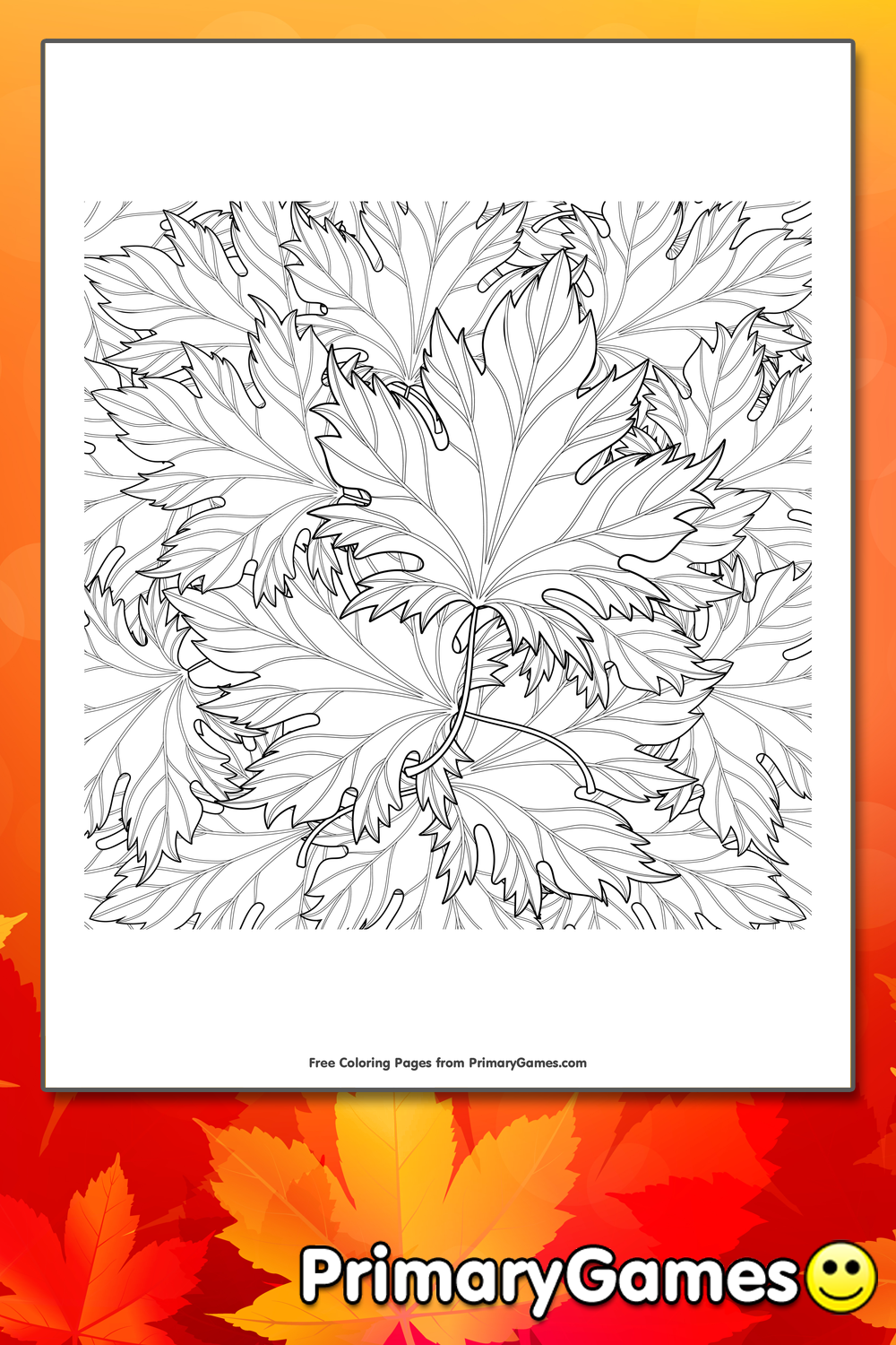 Zentangle Autumn Leaves Coloring Page Printable Fall